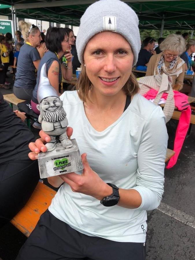 Am Ende aber war sie doch glücklich: Anke Friedl bei den Deutschen Meisterschaften im Ultratrail.