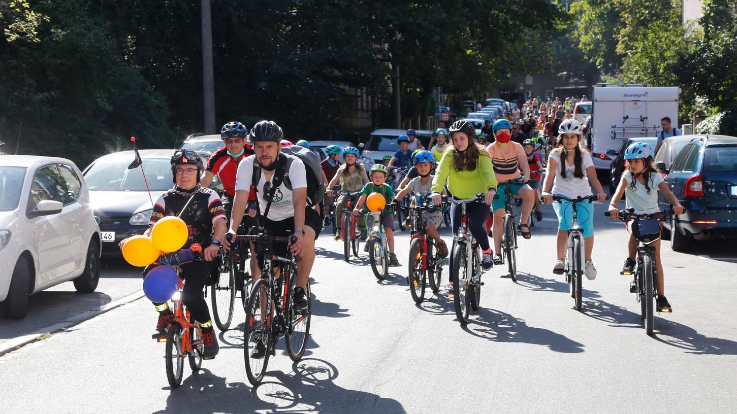 Auch im September vor einem Jahr fand Kidical Mass in Nürnberg statt - unter Corona-Auflagen wurde für eine bessere Fahrradinfrastruktur demonstriert.