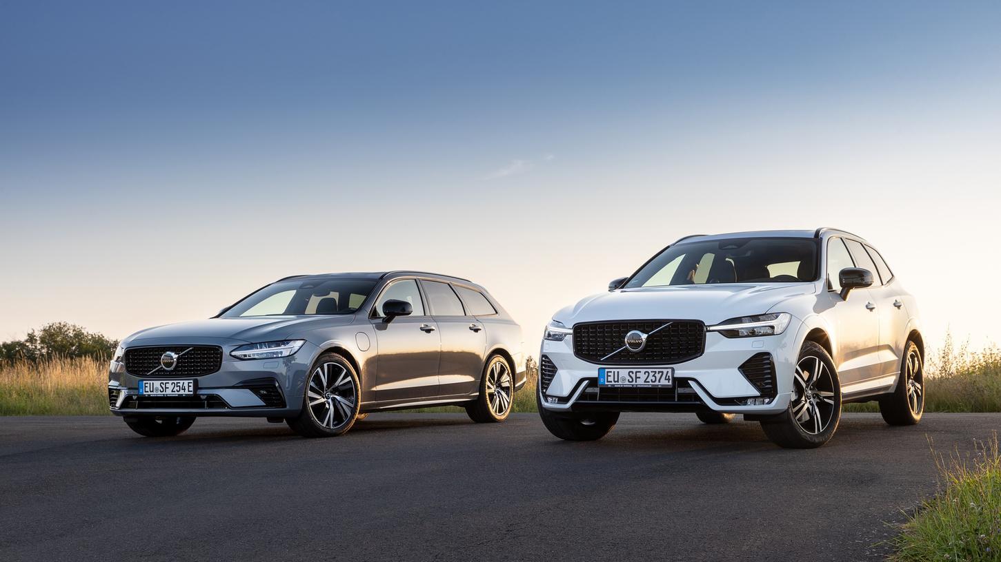 Volvo V90 Recharge und Volvo XC60 (rechts): Umfassende Modellpflege.