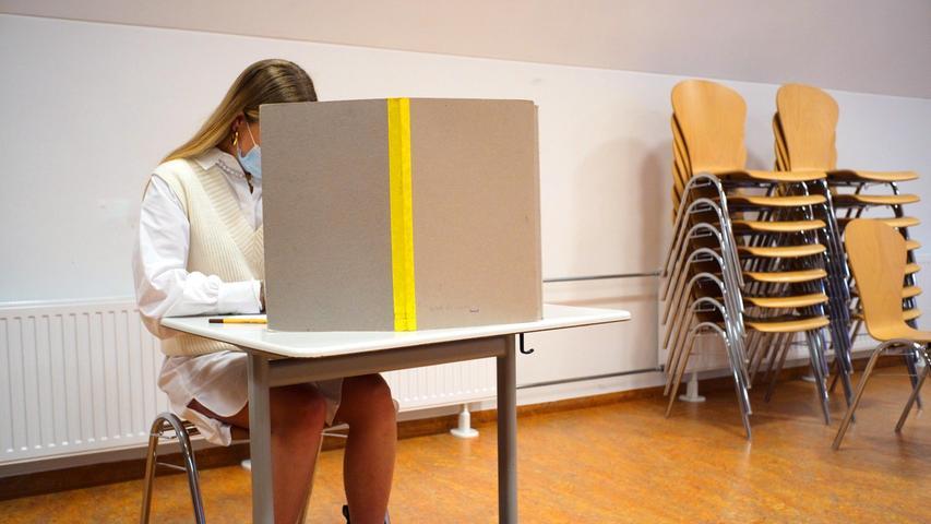 Nürnberger Schüler unter 18 sind ausgerufen zu wählen. Hier im Willstätter Gymnasium..17.09.21 Nürnberg.Foto: Peter Roggenthin pauschal.NNZ