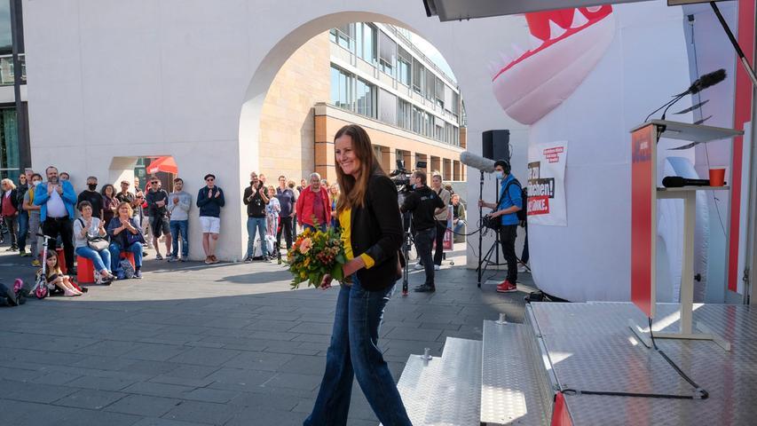 Nürnberg; 18.09.2021; Linken-Spitzenkandidatin Janine Wissler ;  Kornmarkt; Foto: Günter Distler