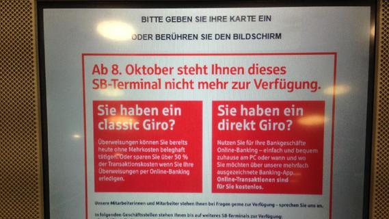 Sparkasse baut in Erlangen SB-Terminal ab
