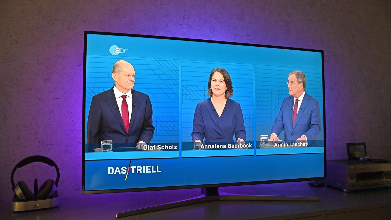 Olaf Scholz, Annalena Baerbock und Armin Laschet lieferten sich beim TV-Triell teilweise einen scharfen Schlagabtausch. Wen sehen unsere User vorne?