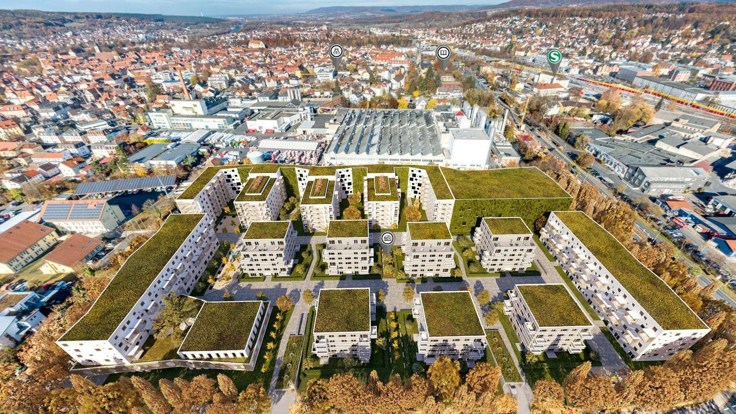 Ein 3D-Modell des geplanten Philosophenviertels. Doch Widerstand regt sich aus unmittelbarer Nachbarschaft – von der Firma Loparex (gleich oberhalb der Bildmitte).