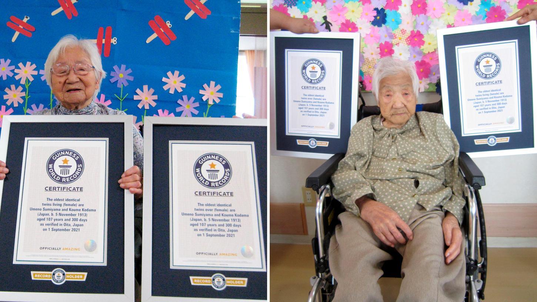 Die beiden japanischen Zwillingsschwestern sind von Guinness World Records als die ältesten lebenden eineiigen Zwillinge der Welt zertifiziert worden.
