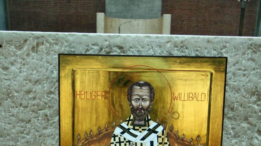 Die Willibaldsikone wird nach dem Festwochenende erst einmal für längere Zeit in der Heilig-Kreuz-Kirche bleiben, weil die Pfarrkirche saniert wird.