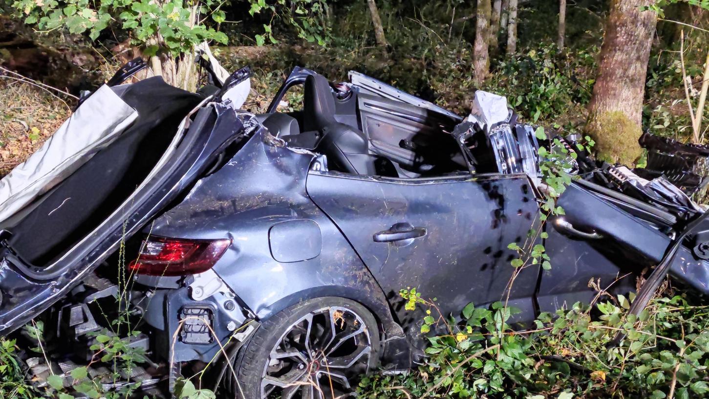 Bei einem Verkehrsunfall in Schwabach ist ein Auto mit zwei Insassen gegen einen Baum geprallt.