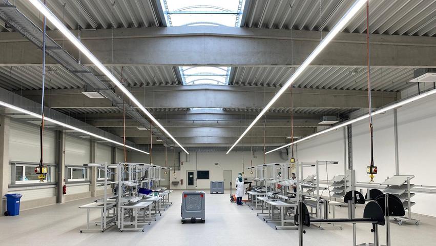 Blick in die neue Produktionshalle des Erweiterungsbaus vonWILAmed in Barthelmesaurach.
