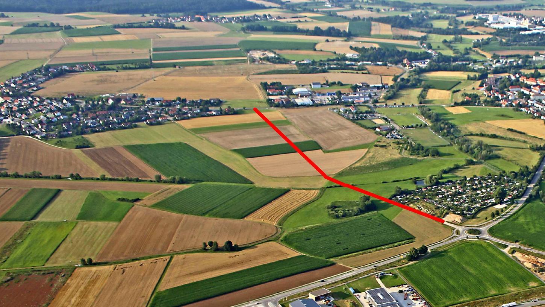 In etwa wie mit der roten Linie eingezeichnet soll der zweite Bauabschnitt der  Weißenburger Westtangente gebaut werden. Jetzt gibt es ein Bürgerbegehren, das  das Projekt verhindern will.