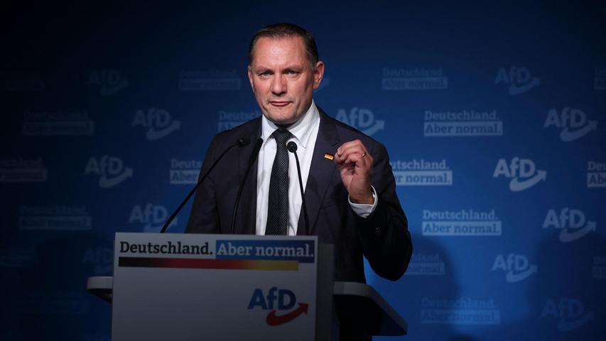 AfD-Spitzenkandidat Tino Chrupalla hat das Abschneiden seiner Partei bei der Bundestagswahl nach der ersten Prognose als
