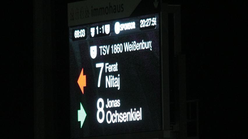 Der TSV 1860 Weißenburg schöpfte sein Auswechselkontingent von fünf Spielern voll aus - hier kam der etatmäßige KapitänJonas Ochsenkiel, der letzte Woche für ein paar Tage im Urlaub war, anstelle von Ferat Nitaj.