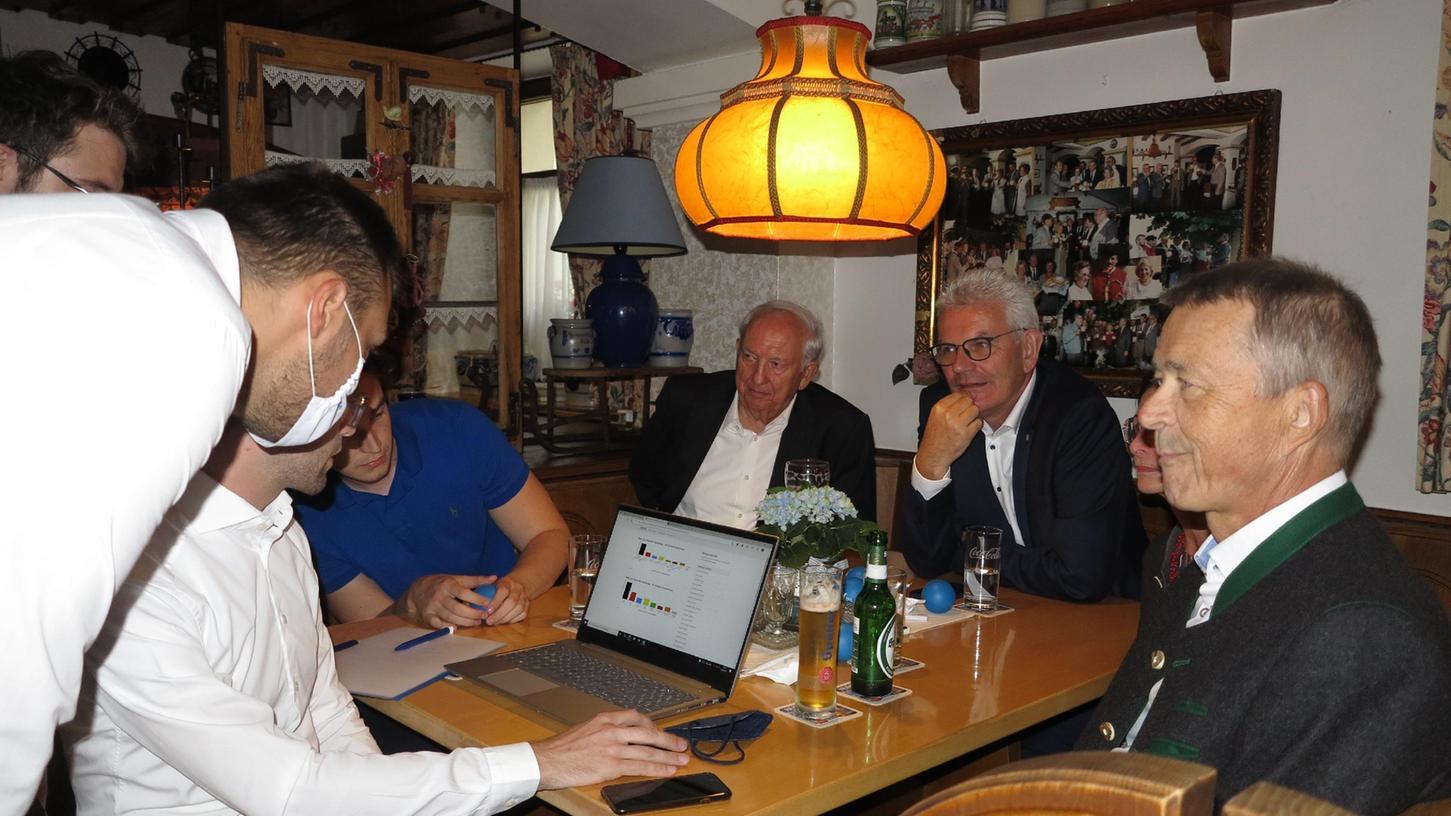 Eine Runde mit CSU-Aktiven und JUlern fand sich am Wahlabend im