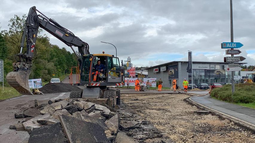 Baustelle in Hilpoltstein: Nur über Umweg zu Aldi