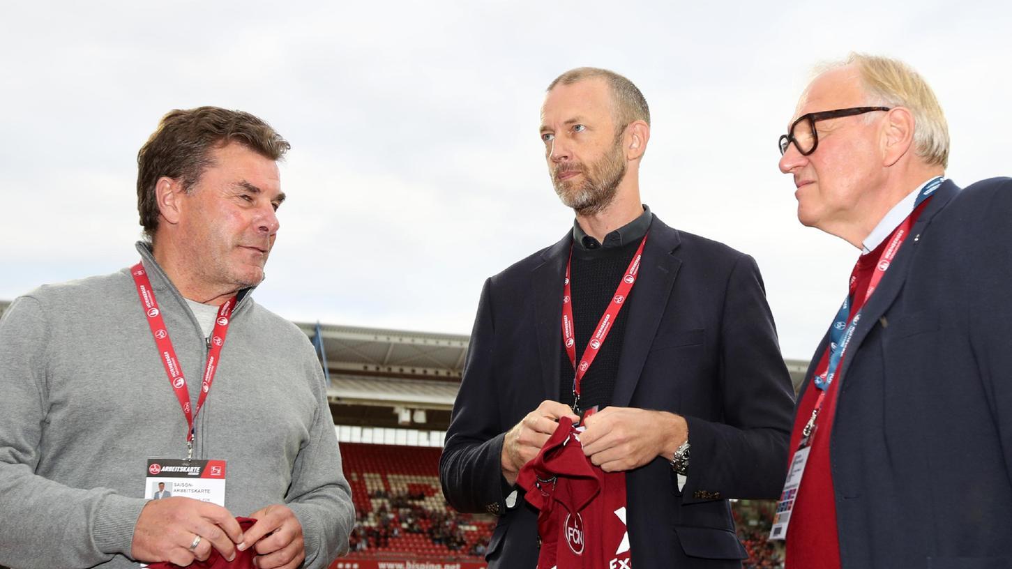 Würden ihrenClub gerne an einem neuen Stadion beteiligen: die Vorstände Dieter Hecking und Niels Rossow sowie Aufsichtsratschef Thomas Grethlein (von links).