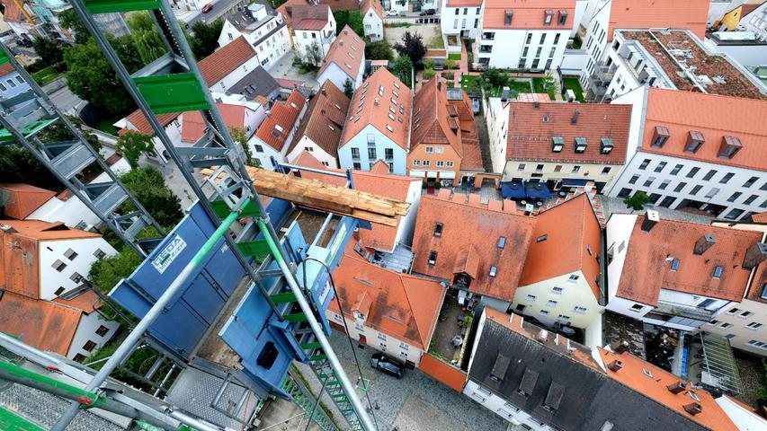 Wo einst an der Klostergasse das Kaufhaus Hackner stand, ist das Wohnbauprojekt schon fertig.