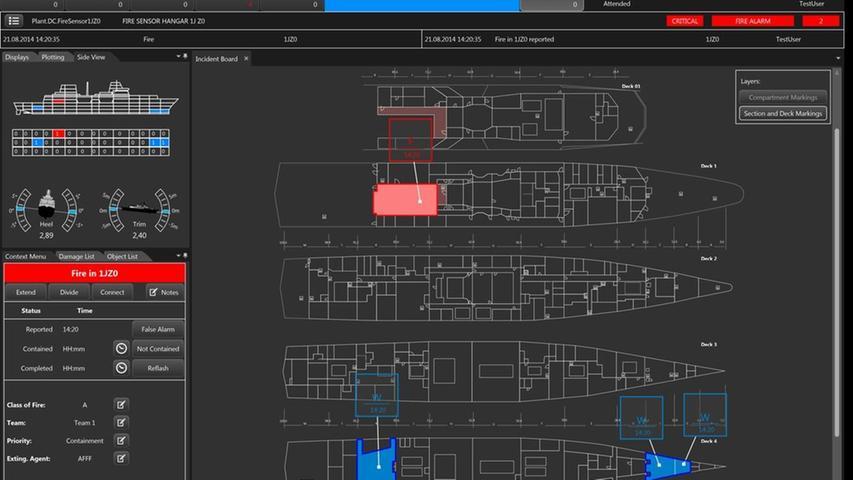 Roter Alarm:ein typisches Schadensüberblicksbild der Softwaremit simuliertem Wassereinbruch beziehungsweiseFeuerschaden.