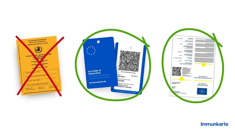 Wer die blaue EU-Covid-19-Karte dabei hat, muss weder Impfheft noch Handy dabei haben.