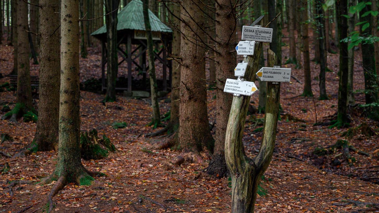 Ein Hinweisschild im Wald mit der Quelle ·eská Studánka im Hintergrund. In der Nähe wurde die vermisste Julia wieder gefunden. Das achtjährige Mädchen aus Berlin wurde am Dienstag im Grenzgebiet an der deutsch-tschechischen Grenze gefunden, nachdem sie seit Sonntag vermisst war.
