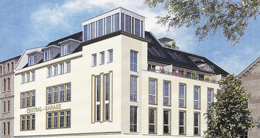 Der Entwurf für die  Umwandlung der historischen Garage in ein Wohngebäude: Mit seinen neuen Proportionen passt sich der Baukomplex besser der Nachbarschaft an, büßt dafür aber stilistische Konturen ein.Repro: FN