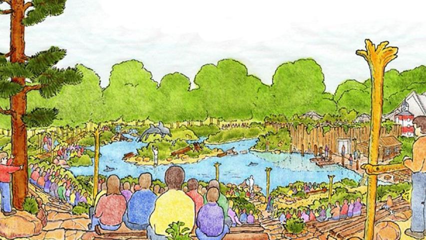 Dieses Bild aus dem Jahr 2005 zeigt erste Vorstellungen und Gedanken, die man sich zu einer möglichen Lagune machte. Damals wusste man natürlich noch nichts über die späteren Diskussionen und Probleme um das Projekt.