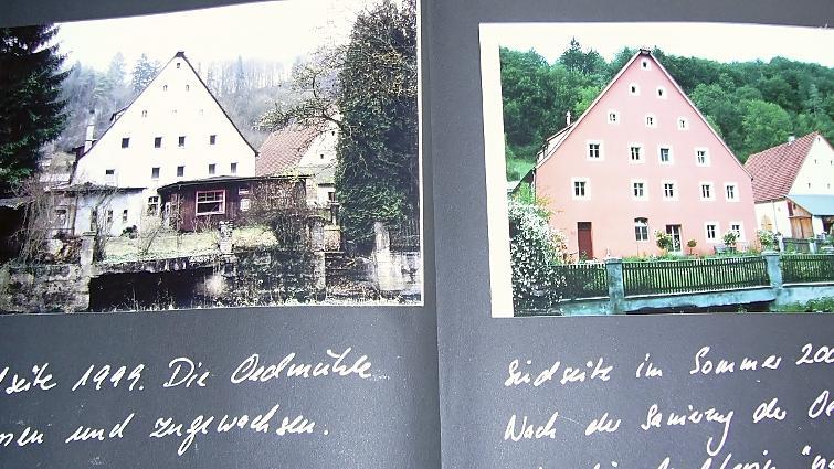 Vorher und nachher: Familie Bräutigam hat den Fortgang ihrer Bauarbeiten genau dokumentiert. Im Jahr 1999 sah die Oed-Mühle heruntergekommen und wenig einladend aus, heute ist nicht nur das Äußere ein Hingucker. Der Gastraum steht für private Feiern zur Verfügung.