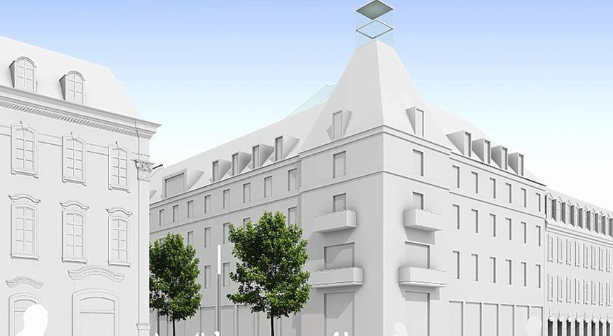 Mit dieser ersten Visualisierung aus dem Juli 2011 hat MIB-Hausarchitekt James Craven die Erwartungen an die Gestaltung des Gebäudes geweckt.  Kritiker bemängeln, dass der jetzt vorliegende Entwurf nichts mehr damit gemein hat.