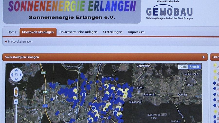 Im Internet-Portal Solarstadtplan.Erlangen.de  geht es auf den ersten Blick verwirrend zu. Die einzelnen Solaranlagen lassen sich allerdings durch einen kleineren Maßstab punktgenau auf jedem Haus orten und geben ihre technischen Details preis.