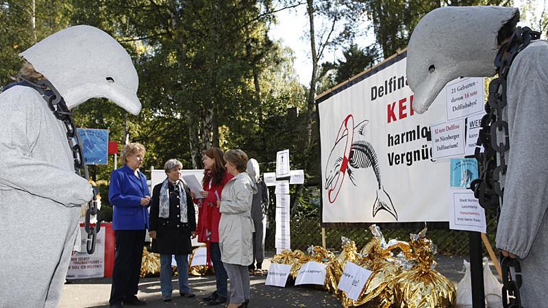 Am Rande des Richtfests demonstrierten Tierschützer vor dem Haupttor gegen die Delfinlagune: Sie kritisierten die Haltung der Meeressäuger im Nürnberger Tiergarten. Die zahlreichen Proteste, an denen sich mittlerweile auch viele andere Bürger beteiligten, haben die Planungen und Bauarbeiten während der gesamten Zeit begleitet.