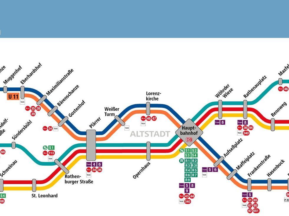 Das aktuelle Liniennetz von U1, U2 und U3 in Nürnberg und Fürth.
