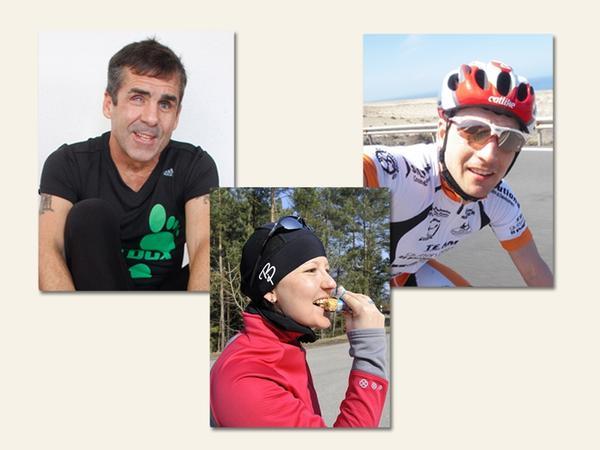 Unsere drei Athleten für Roth: Jeffrey Norris, Katja Bartsch und Michi Hofmann (von links).