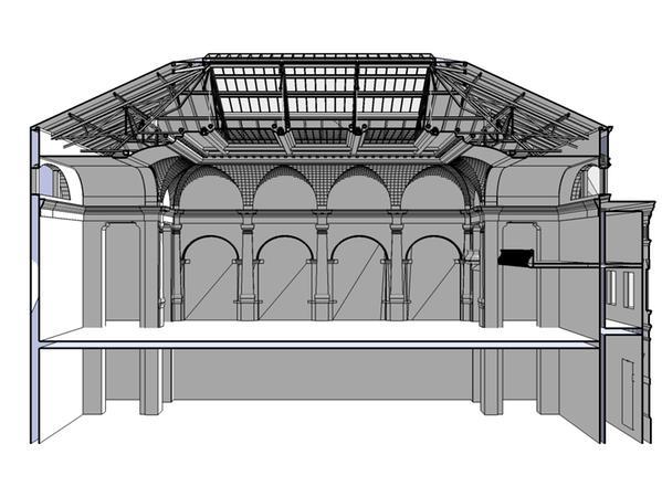Schnitt des Festsaals - Animation von Dipl. Ing. Klaus Heller - BI Bessere Mitte für Fürth