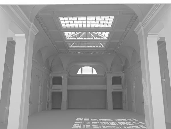 Computergenerierte Ansicht des Festsaals - Animation Dipl. Ing. Klaus Heller - BI Bessere Mitte für Fürth
