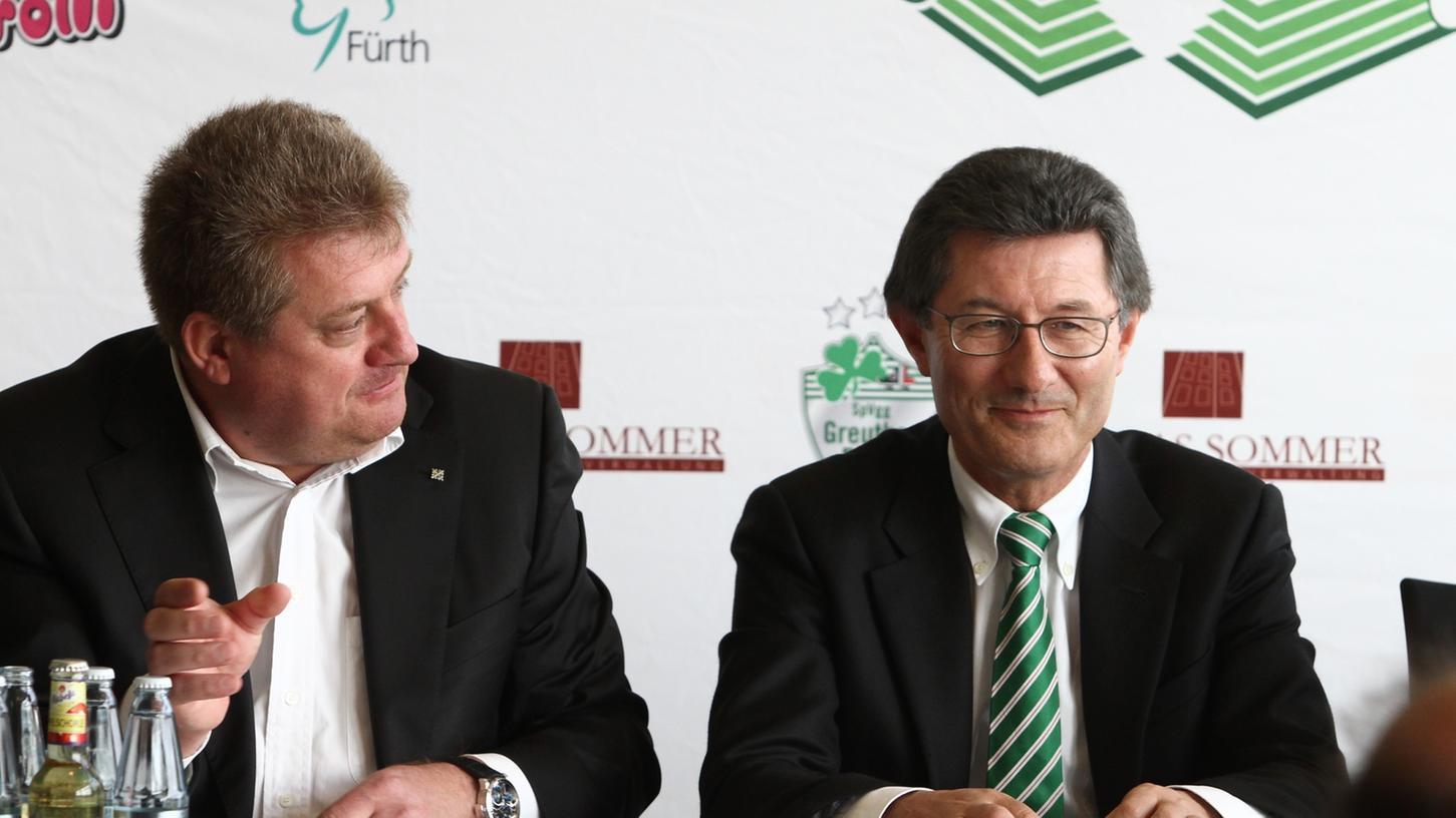 Zwei Macher unter sich: Fürths Stadion-Bauer Thomas Sommer und SpVgg-Präsident Helmut Hack.