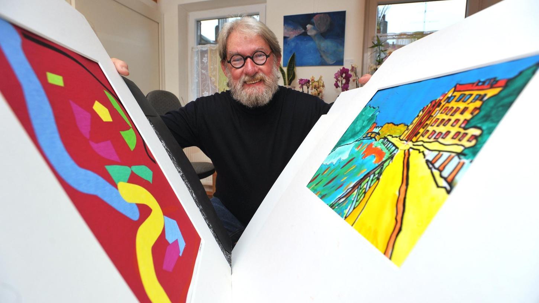 Maler Volker Dieckmann setzt kraftvoll auf Fläche und strukturierte Farbverteilung.