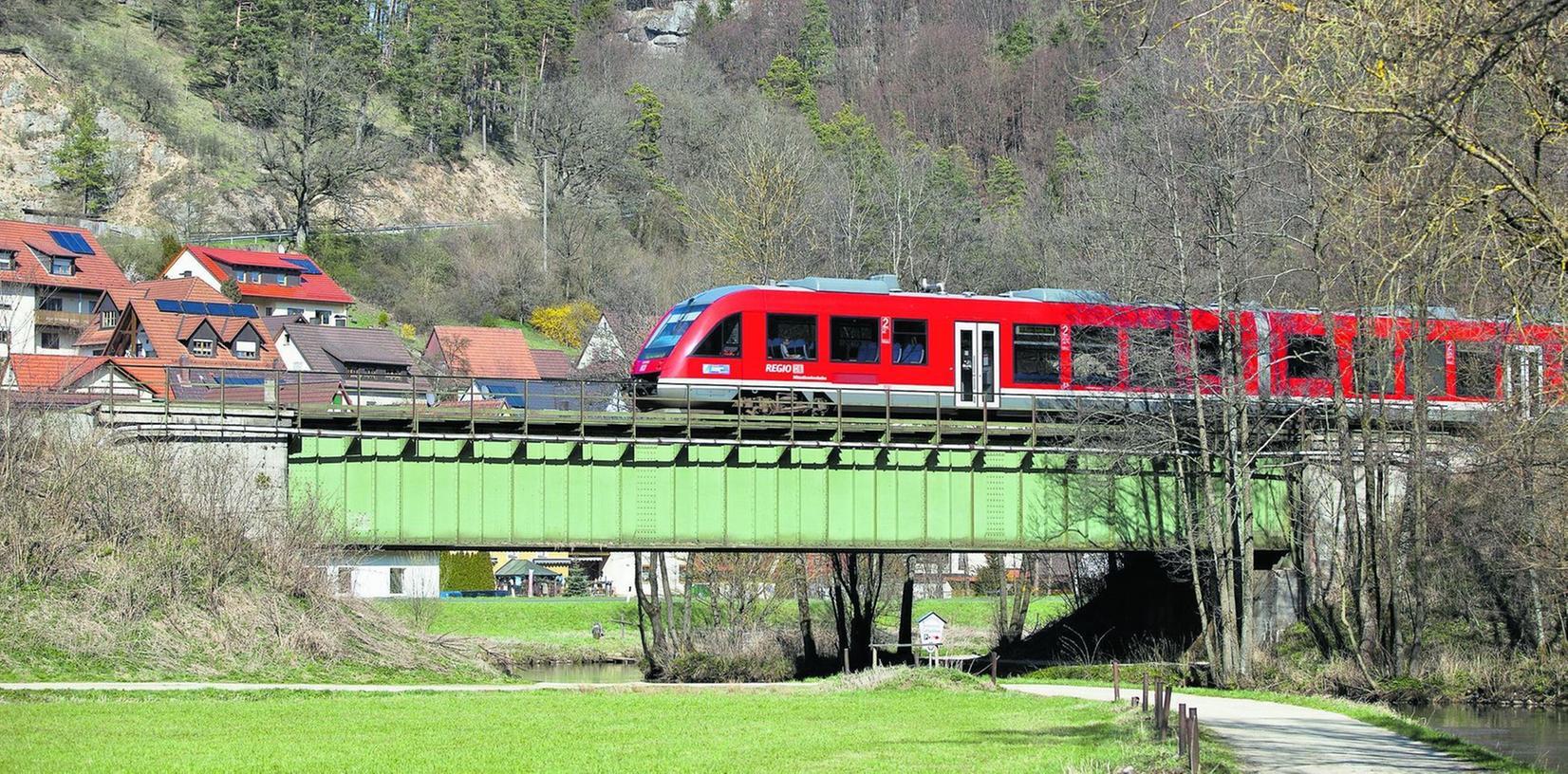 Ein Regionalzug fährt auf der Stahlbrücke über die Pegnitz in Enzendorf bei Hartenstein. Auch diese Brücke soll ersetzt werden.
