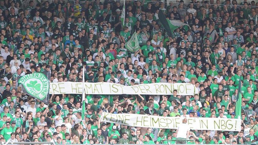 Spruchband der Kleeblatt-Fans: Keine Heimspiele in Nürnberg!