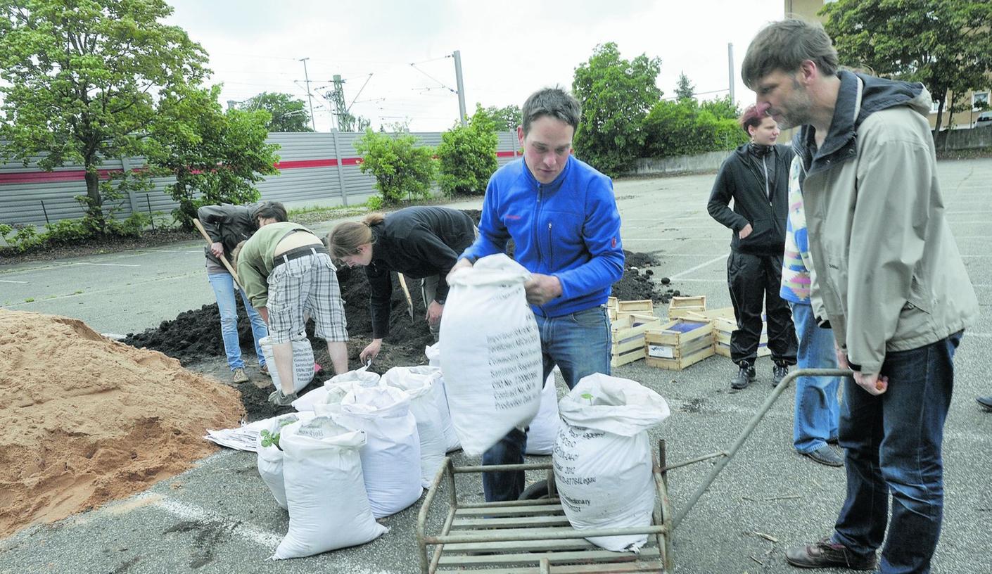 Parkplatz  im Wandel: Helfer transportieren die in Säcken gepflanzten Kartoffeln.