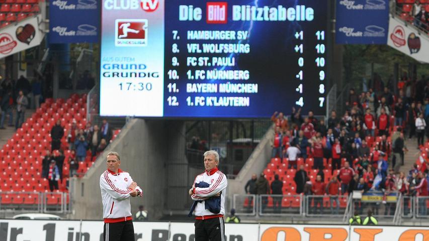 Unter Dieter Hecking zeigte die Club-Kurve wieder nach oben. Und so kam es auch vor, dass der FCN zwischenzeitlich sogar vor den Bayern stand. Klar war der Zustand nach dem Sieg gegen Schalke in der Hinrunde der Saison 2010/11 eine Momentaufnahme. Mut für die Zukunft machte diese Momentaufnahme aber allemal.