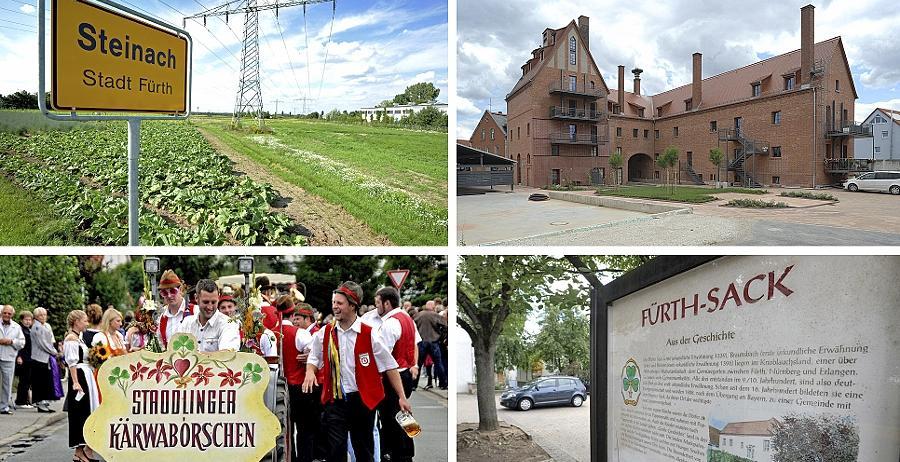 Die Äcker rund um Steinach (von oben links im Uhrzeigersinn), die einstige Marktgemeinde Vach mit ihrer früheren Brauerei, die bauernschlauen Sacker und die traditionsbewussten Stadelner — sie alle wurden am 1. Juli 1972 ein Teil der Stadt Fürth.