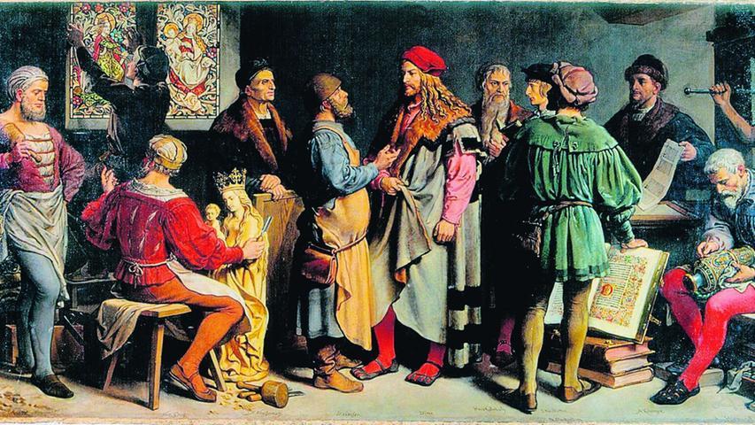 """Friedrich W. Wanderers Bild """"Meister der Dürerzeit"""" (Gemälde- und Skulpturensammlung der Stadt Nürnberg) zeigt berühmte Männer aus Nürnbergs Vergangenheit."""