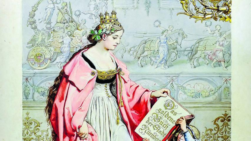 Das Goldene Buch der Stadt Nürnberg, in das sich namhafte Besucher der Stadt eintragen, ist ein Werk Wanderers. Hier abgebildet ist das Titelblatt mit einer sinnbildlichen Noris.