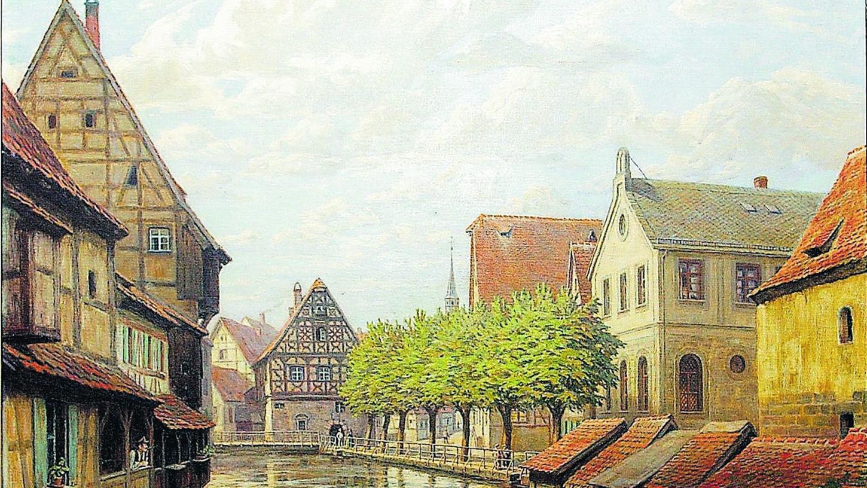 Dieses Gemälde zeigt rechts die Synagoge in der Wiesentstraße. Es hängt im Dienstzimmer von OB Stumpf. Repro: NN