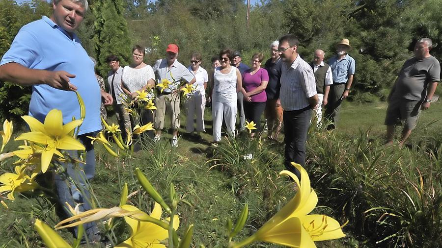 Gärtner Stefan Strasser (l.) führte an die 100 Menschen durch seinen Liliengarten in Kriegenbrunn und verriet dabei Tricks zur Gartenverschönerung.
