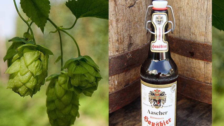 Das prachtvoll verschnörkelte Wappen auf dem Etikett des Flaschenbiers der Brauerei Rittmayer aus Adelsdorf fällt sofort auf. Dieses wurde im Jahre 1442 von Kaiser Sigmund der Familie Rittmayer übermacht. Bei der Gründung der Brauerei im Jahr 1685 wurde es dann auch gleich als Brauerei-Logo verwendet. Mit dem naturtrüben Hausbier wird nur eine einzige Biersorte in den Sudhäusern der Brauerei Rittmayer gebraut. Doch Qualität ist bekanntlich wichtiger als Quantität.  (Durchschnittsnote: 6,7)