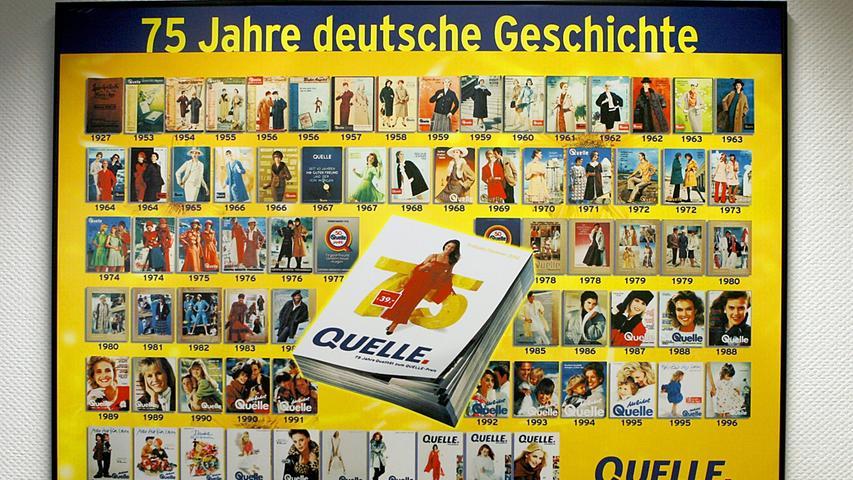 Ein Poster zum 75. Bestehen des Unternehmens hing im Oktober 2009 in der Quelle-Verwaltung in Fürth.