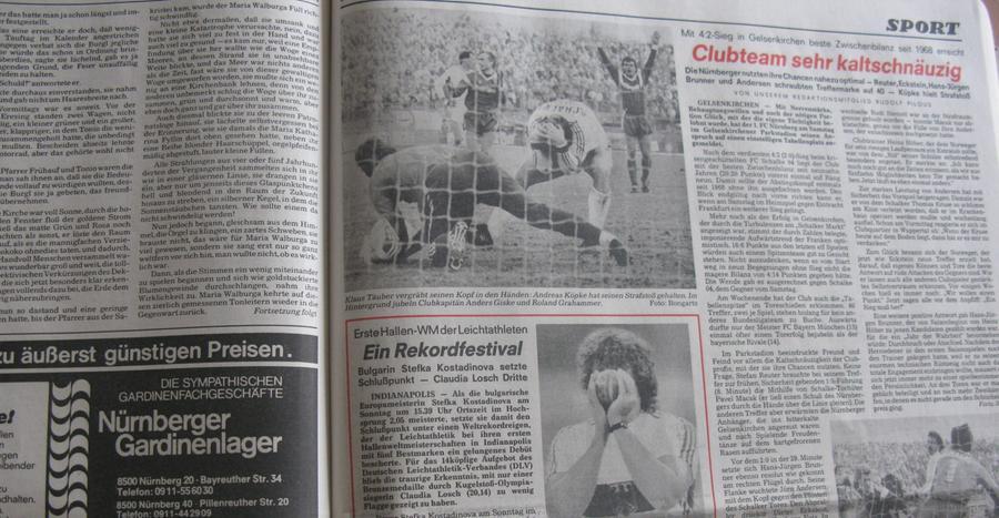 So stand es am 9. März 1987 in den Nürnberger Nachrichten: Der FCN feierte in Gelsenkirchen einen fulminanten 4:2-Auswärtssieg.
