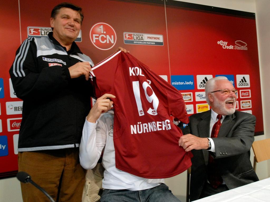 RESSORT: Sport 06.01.08 FOTOGRAF: Karlheinz Daut MOTIV: Fußball, FCN Neuverpflichtung Jan Koller, Michael A. Roth, Hans Meyer
