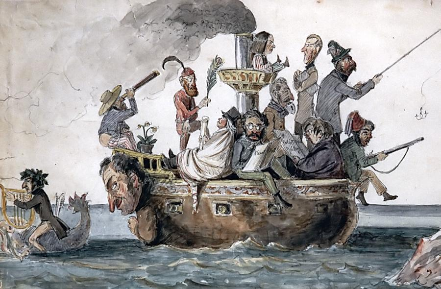 Karl Friedrich Neumann als Galionsfigur: Die zeitgenössische Karikatur von Franz Graf von Pocci thematisiert die Schiffsreise nach China 1830/31.