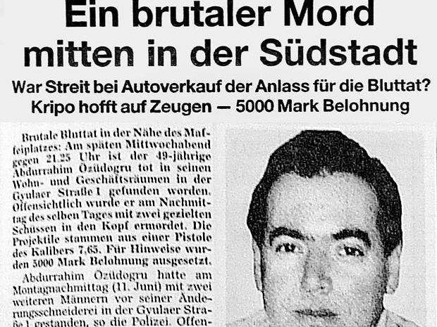 So berichtete die Nürnberger Zeitung am 16. Juni 2001 über den Mord an Abdurrahim Özüdogru. Der Änderungsschneider war in der Südstadt von der NSU getötet worden – die Dimension dieser Mordserie erahnte damals keiner.