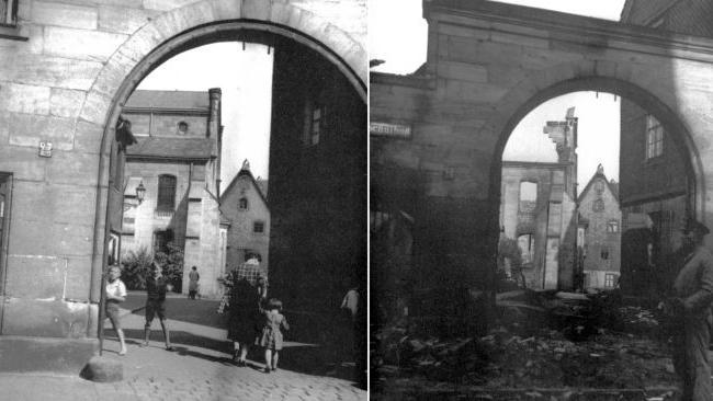 In der Nacht vom 9. zum 10. November 1938 verwüsteten die Nationalsozialisten während der Reichspogromnacht in ganz Deutschland jüdische Geschäfte und Gotteshäuser. Auch hier in der Region hinterließen SA und SS ein Bild der Zerstörung, wie das Vergleichsfoto der Hauptsynagoge in Fürth (rechts im Bild) deutlich zeigt.